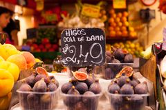 Colourful fruit and figs at market stall in Boqueria market in Barcelona. Stock Photography