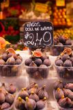 Colourful fruit and figs at market stall in Boqueria market in Barcelona. Royalty Free Stock Image