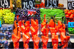 Colourful fruit, figs and vegetables in Boqueria market. Barcelona. Royalty Free Stock Images