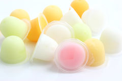 Colourful fruit jelly cup isolated in white. Background Thank for your support stock images