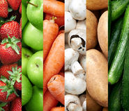 Colourful fruit and vegetable backgrounds collage Stock Image