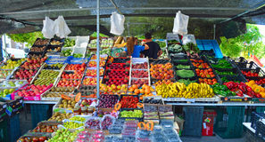 Colourful fruit and vegetable market stall Cartama Spain. Cartama, Andalucia, Spain - June 26, 2016: Colourful fruit and vegetable market stall Cartama Spain royalty free stock image
