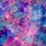 Colourful Galaxy Cosmos Print with Pink Blue and Purple. Seamless Pattern in Repeat with unicorn theme Stock Image