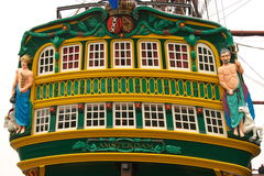 Colourful galleon ship stern. East Indiana replica Amsterdam in Amsterdam harbour, Holland Royalty Free Stock Image