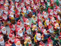 Colourful Garden Gnomes, Czech Republic royalty free stock images