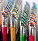 Colourful Gel Pens. Stack of colourful gel pens royalty free stock image
