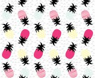 Colourful geometric abstract pineapples repeat pattern. Colourful geometric abstract pineapples repeat seamless pattern Stock Photography