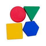 Colourful geometric shapes. Geometric shapes in red, green, blue and yellow Stock Photos