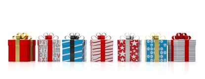 Colourful gift boxes with shiny ribbons on white background. 3d illustration Stock Photos