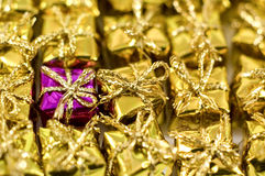 Colourful gift shaped confetti Royalty Free Stock Images