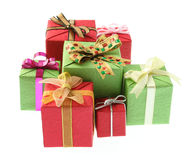 Colourful gifts. Focus on the middle gift Royalty Free Stock Image