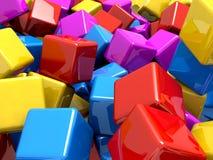 Colourful glansowani odbijający bloki Fotografia Royalty Free