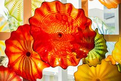 Colourful glass blown sculptures at Dale Chihuly glass exhibit In Tel Aviv. Israel stock image