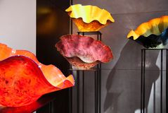 Colourful glass blown sculptures at Dale Chihuly glass exhibit In Tel Aviv. Israel royalty free stock photos