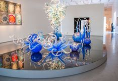 Colourful glass blown sculptures at Dale Chihuly glass exhibit In Tel Aviv. Israel stock photography