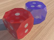 Colourful Glass Dice Royalty Free Stock Photography