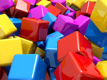 Colourful glossy reflective blocks. A lot of reflective blocks Royalty Free Stock Photography
