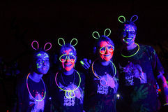 Colourful Glow Run people of Africa stock images