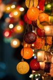 Colourful Glowing Christmas Lights. On beautiful background Stock Photo