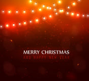 Colourful Glowing Christmas Lights. Colourful Glowing Red Christmas Lights. Vector illustration Royalty Free Stock Images
