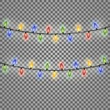 Colourful Glowing Christmas Lights. Vector illustration. Eps 10 Royalty Free Stock Photo