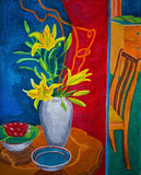Colourful gouache painting of two rooms with flowers Stock Image