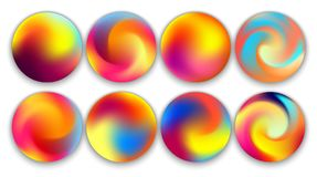 Colourful Gradient Orbs, Illustrations Set.  Stock Images