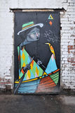 Colourful Graffiti Artwork on a Building Door Royalty Free Stock Images