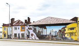 Colourful graffiti decorating one of main streets in Punta Arenas. Stock Images