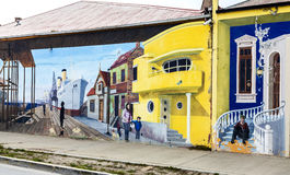 Colourful graffiti decorating one of main streets in Punta Arenas. Royalty Free Stock Photography
