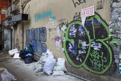 Graffiti in alleyway in Asia royalty free stock images