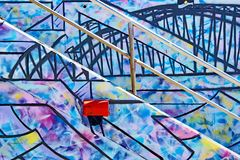 Colourful Graffiti on Steps and Wall Stock Photo