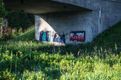 Colourful Graffiti Under Bridge. Photo of colourful graffiti and drawings under bridge in conservation area. Green grass and weeds early morning Stock Images