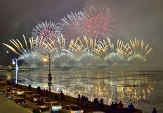 Colourful grand fireworks devoted to end of Year 2017. ST.PETERSBURG, RUSSIA - DECEMBER 30, 2016: Christmas atmosphere in St. Petersburg. Pyrotechnic show on the royalty free stock photography