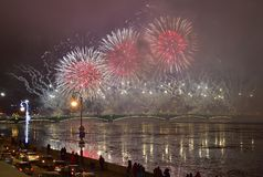 Colourful grand fireworks devoted to end of Year 2017 Stock Photo