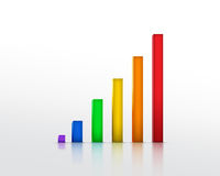 Colourful Graph. Beautiful Colorful Graph isolated on white Stock Photos