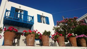 Colourful Greek house Stock Images