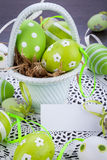 Colourful green Easter eggs in straw Royalty Free Stock Photo