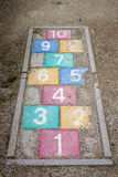 Colourful grunge rocznika hopscotch Fotografia Stock