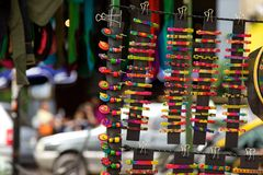 Colourful hair clips for sale in market in Buenos Aires, Argentina. At a market stall in Buenos Aires, rows of colourful barrettes, or hair clips, are shown for Royalty Free Stock Photography
