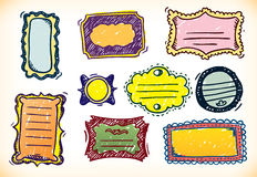 Colourful Hand Drawn Frames stock illustration