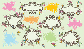 Colourful hand drawn labels Stock Images