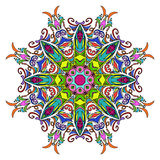 Colourful Hand Drawn Mandala, Oriental Decorative Element, Vintage Style. Royalty Free Stock Photo