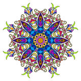 Colourful Hand Drawn Mandala, Oriental Decorative Element, Vintage Style. Stock Images
