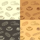 Colourful hand drawn pattern with realistic baking. Vector illustration. Seamless wallpaper with bread silhouette designed for print, packing, booklet or vector illustration