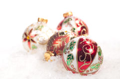 Colourful hand painted  glass baubles Stock Images