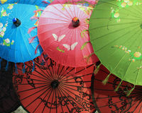 Colourful hand painted umbrellas for sale Stock Photography