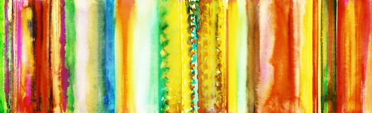 Colourful hand painted watercolor stripes banner Stock Image