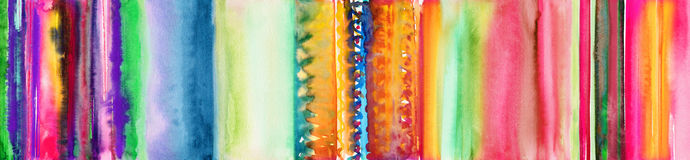 Colourful hand painted watercolor stripes banner Royalty Free Stock Photos
