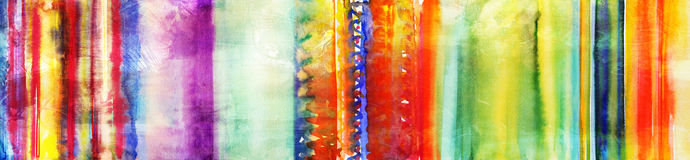 Colourful hand painted watercolor stripes banner Stock Photography